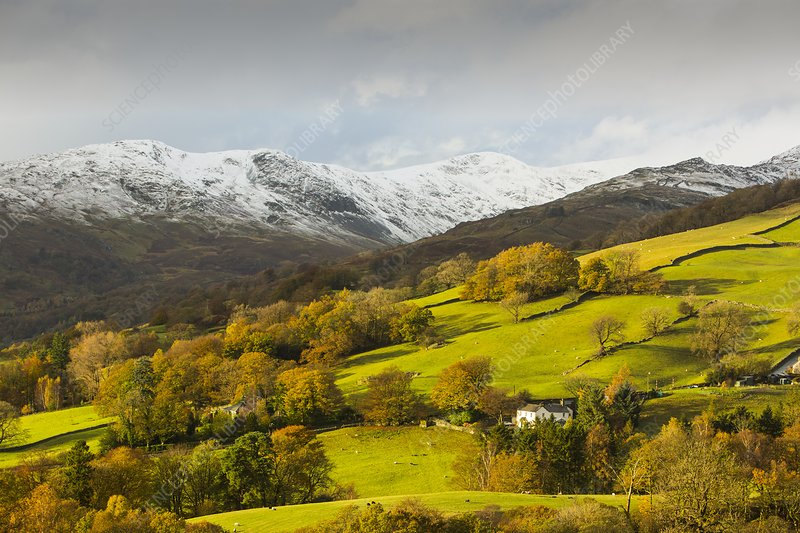 Snow over Fairfield, Lake District, UK