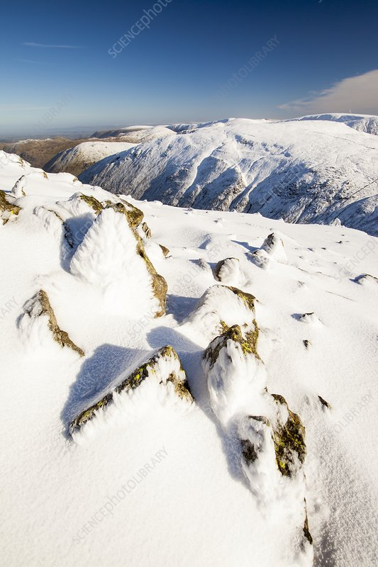 Snow on Red Screes, Lake District, UK