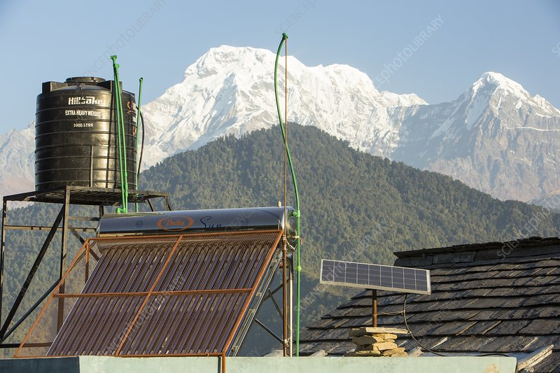 Solar panels on a Himalayan tea house