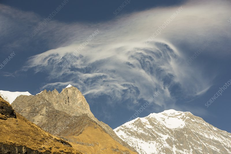 Jet stream winds over the Himalayas