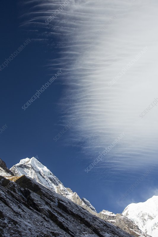 Jet stream winds over Annapurna South