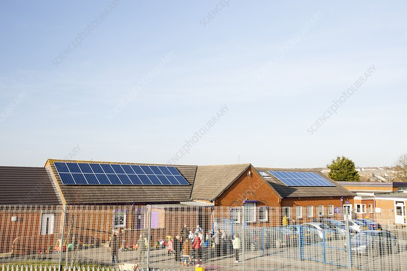 Solar panels on school roof