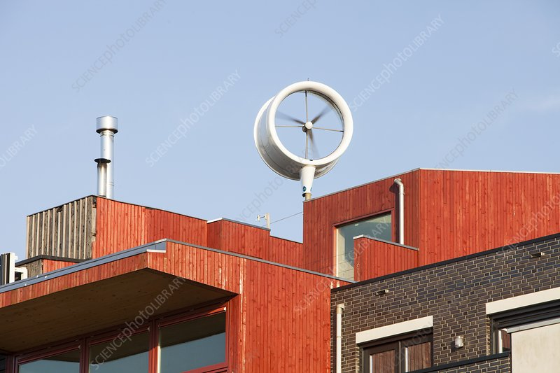 Small scale wind turbine on a house