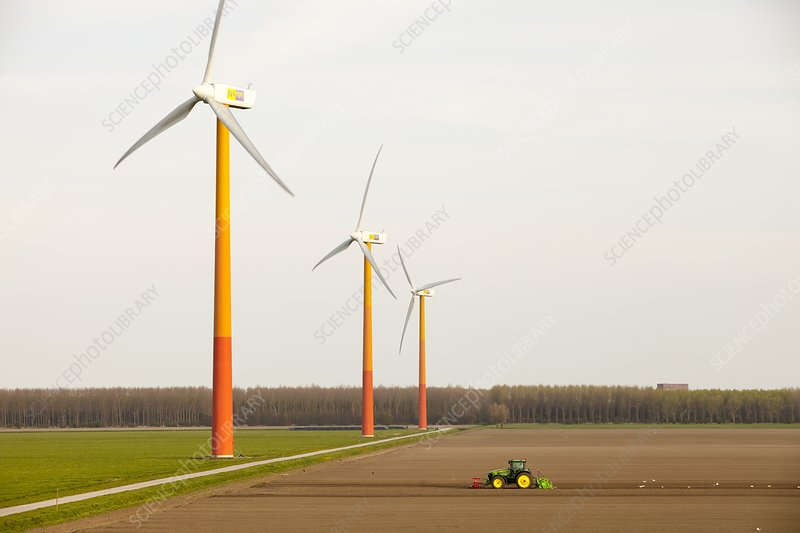Colourful wind turbines, Netherlands