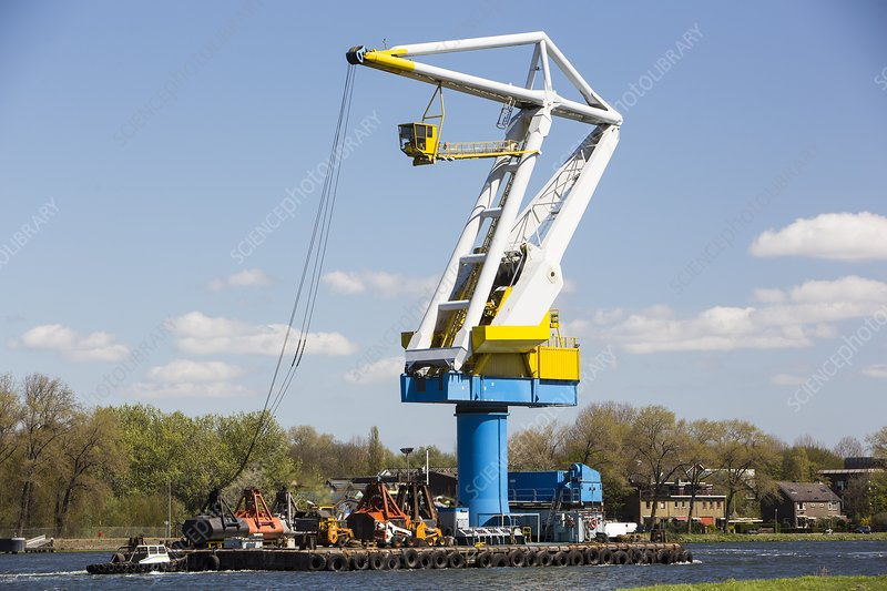 Crane on a barge, Amsterdam, Netherlands