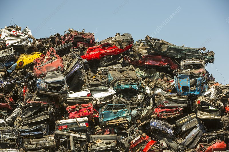 Old cars at a scrap metal merchants