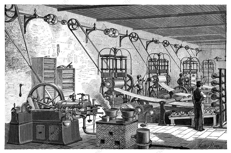 Otto engine in a factory, 19th century