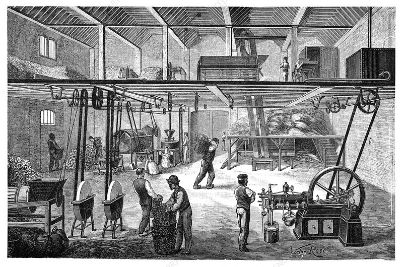 Otto engine on a farm, 19th century