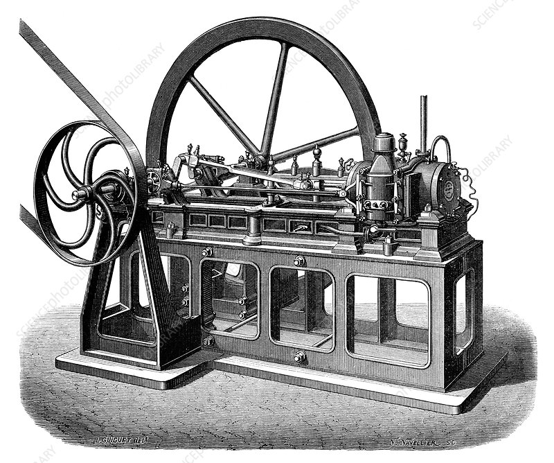 first gas engine 1860 stock image c023 5292 science. Black Bedroom Furniture Sets. Home Design Ideas