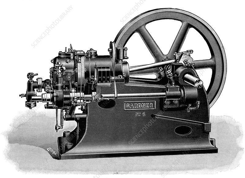 Gardner Gas Engine 19th Century Stock Image C023 5293