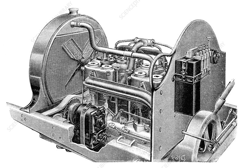 Car engine and magneto, illustration