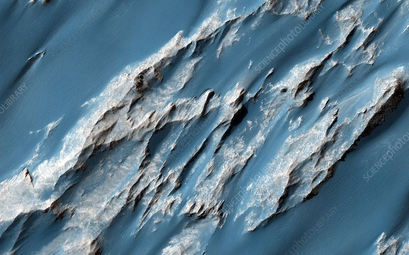 Landslides on Mars, satellite image
