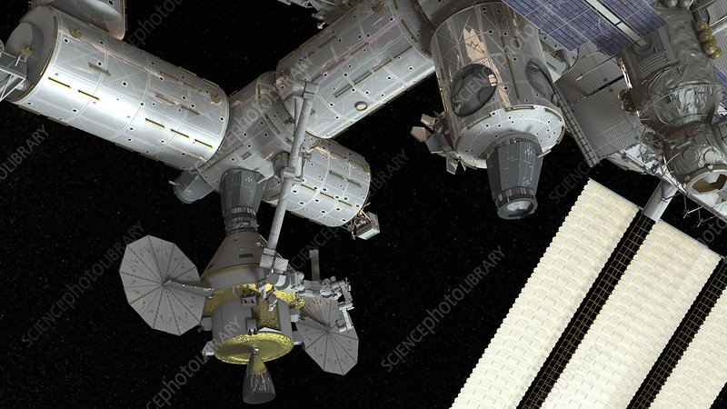 Orion docked to the ISS, illustration