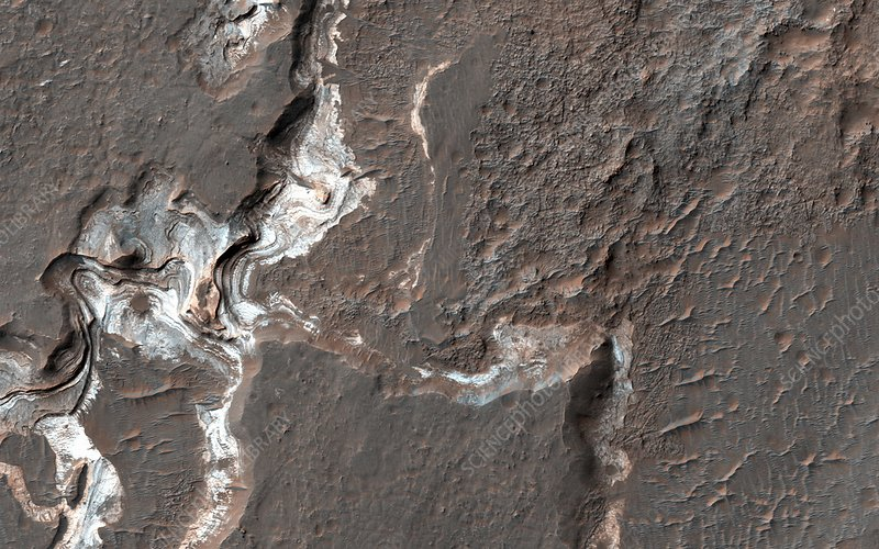 Canyon sediments on Mars, satellite image