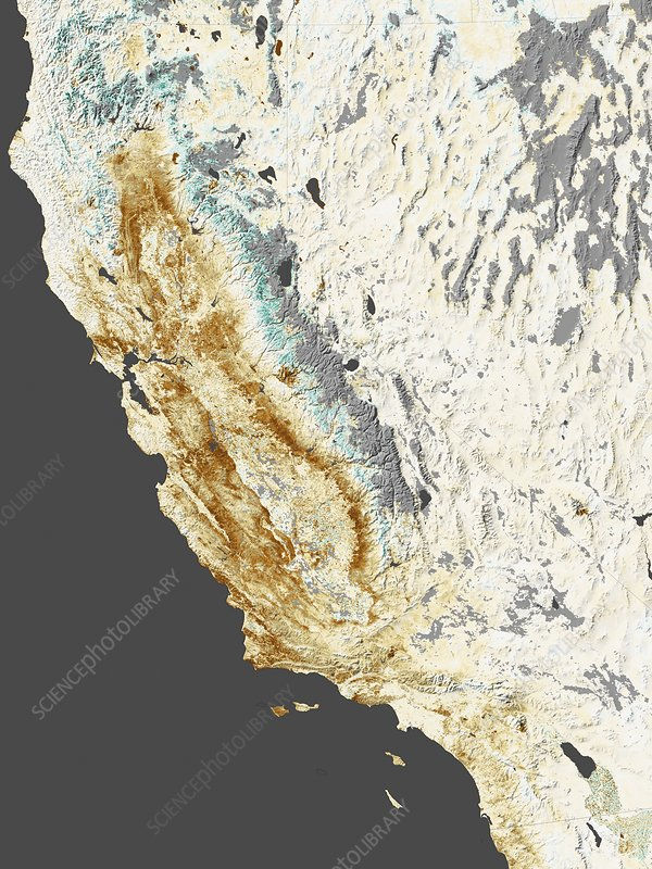 2014 California drought, satellite map