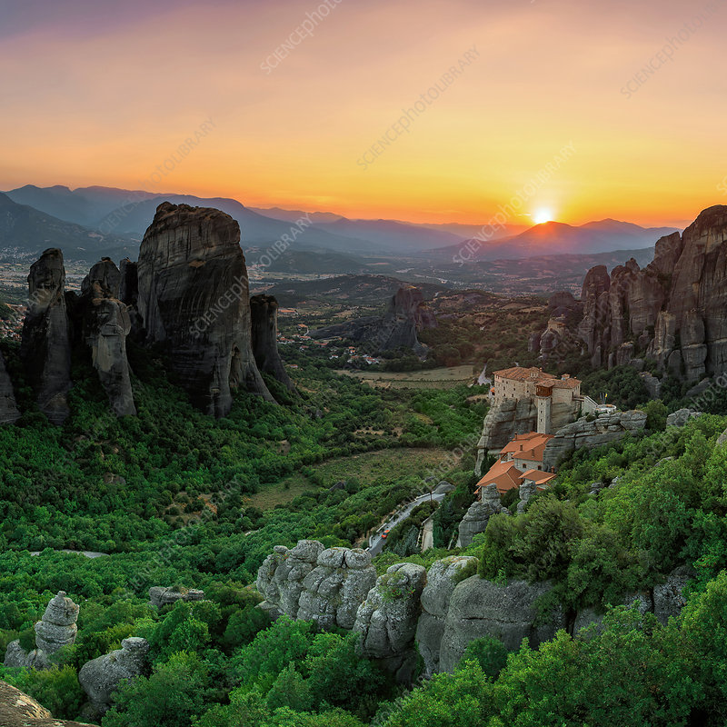 Sunset over Meteora, Greece