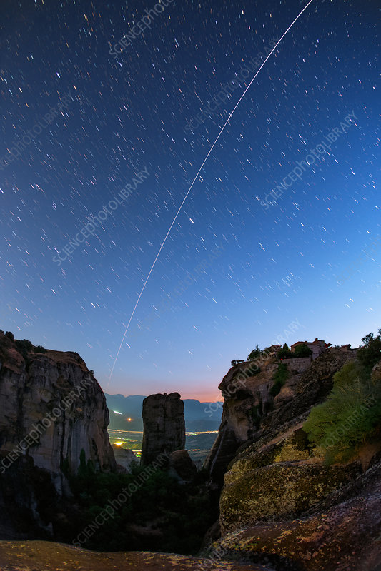 Night sky over Meteora, Greece