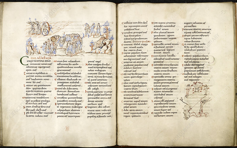 Harley Psalter with pen drawings