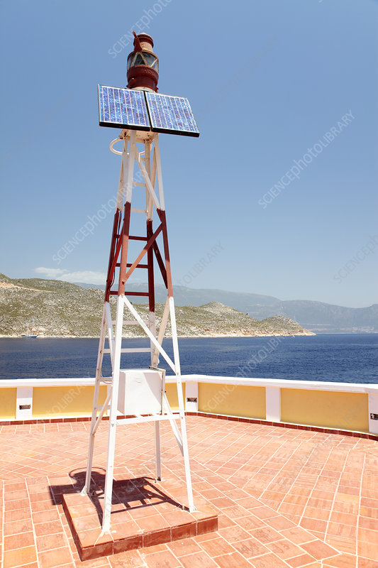 Solar-powered harbour light, Greece