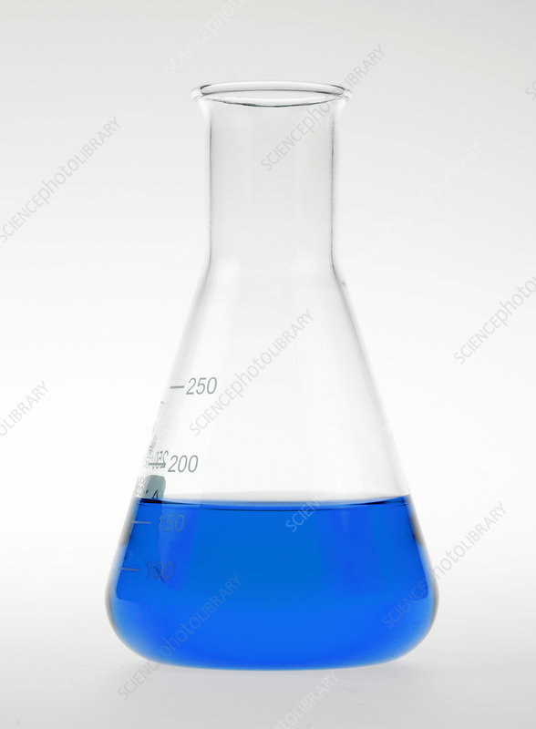 Conical flask holding blue liquid