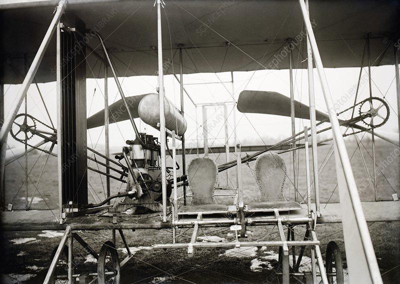 Wright biplane engine and seats, 1911