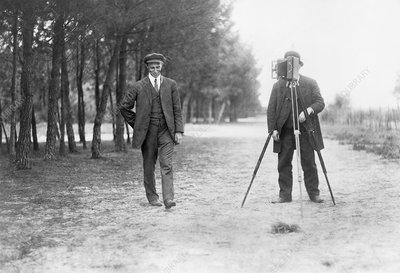 Wilbur Wright and photographer, 1909