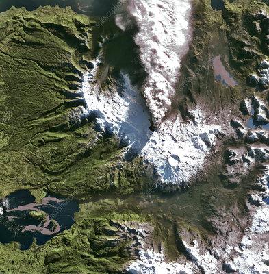 Puyehue volcano eruption, satellite image