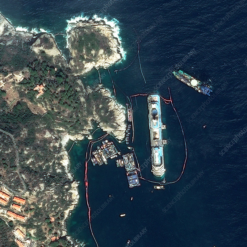 Costa Concordia ship, satellite image