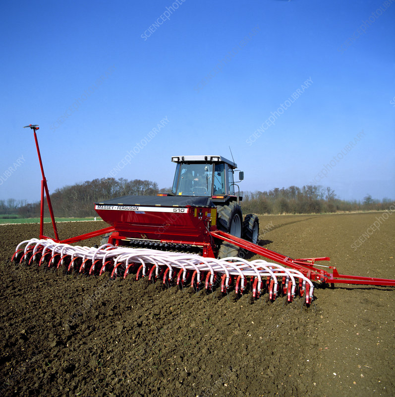 Tractor and Massey Ferguson seed drill