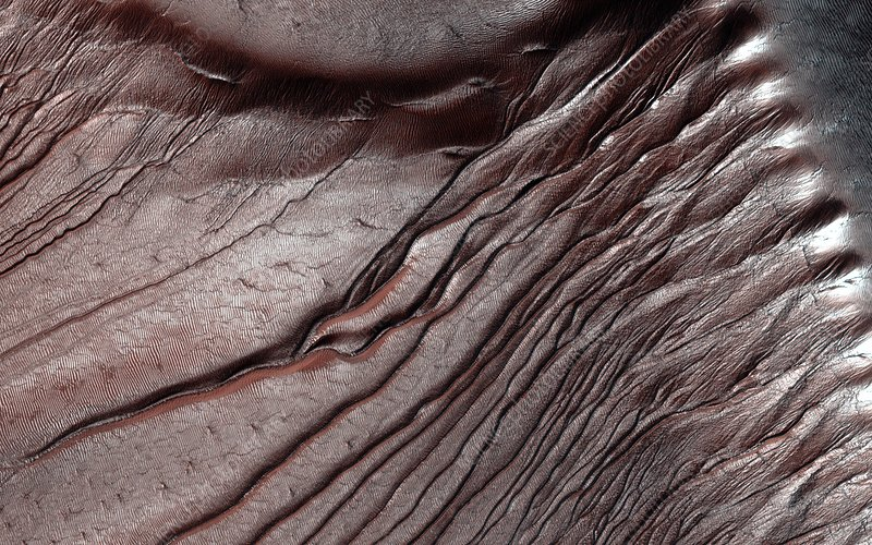 Frost on Martian dunes, satellite image