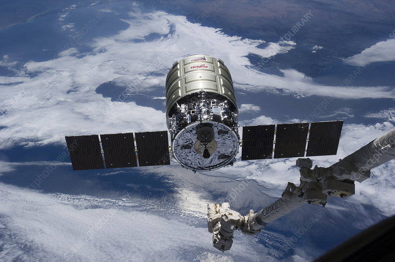 Cygnus cargo spacecraft docking with ISS