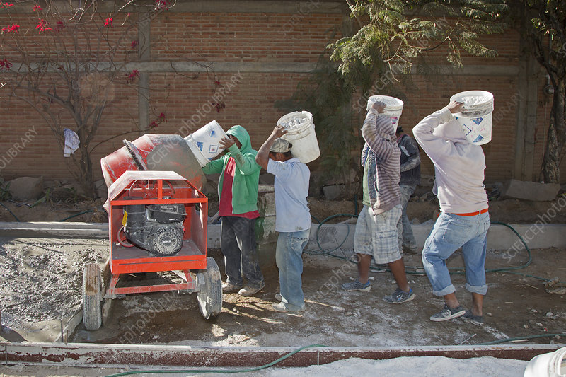 Cement mixing for road-building, Mexico