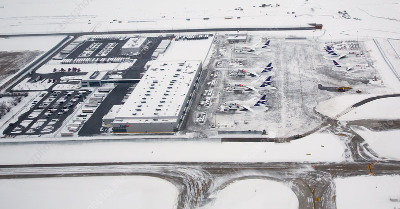 Snow-covered FedEx terminal, Chicago