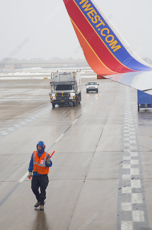 Ground crew worker at Chicago airport