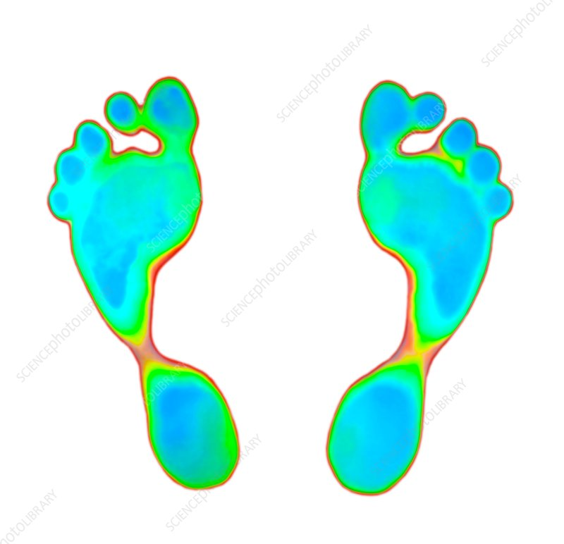 Feet prints on thermochromic film