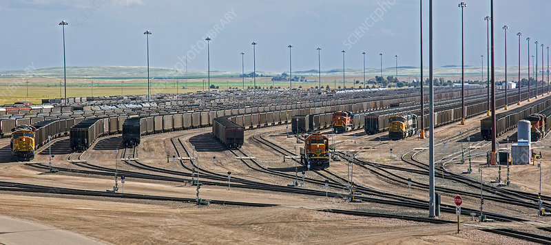 Coal trains in Nebraska rail yard
