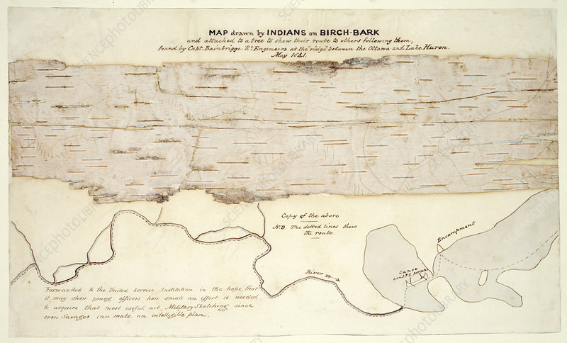 Native American birch-bark map, 1841