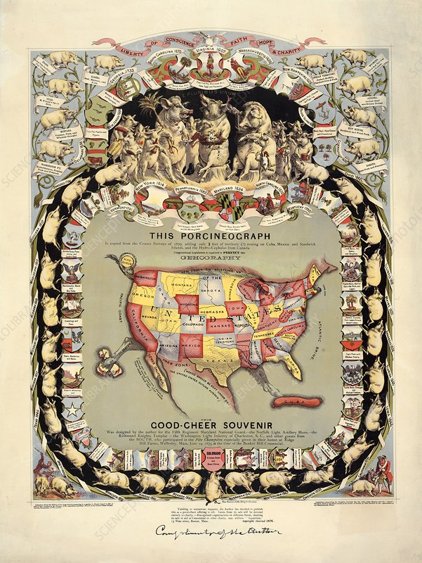 Pig-shaped map of the USA, 1870s