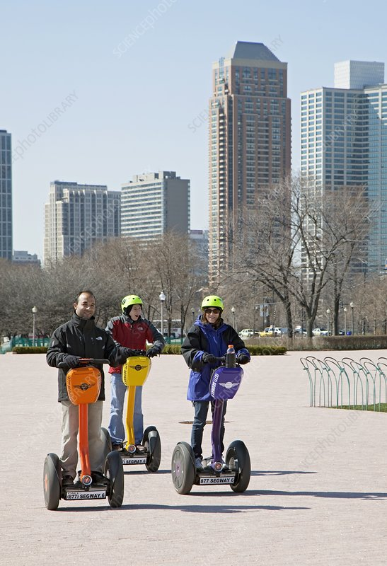People riding segways