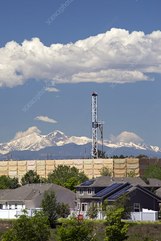 Oil drilling rig near homes, USA
