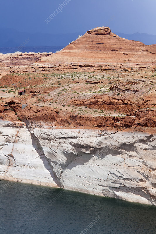 Low water levels in Lake Powell, USA