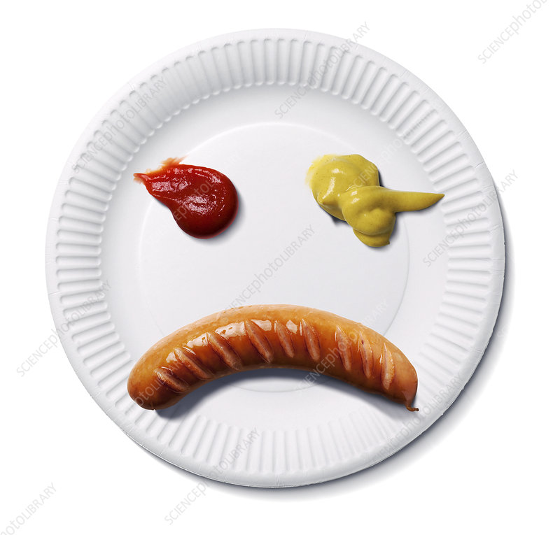 Sad food face, conceptual image