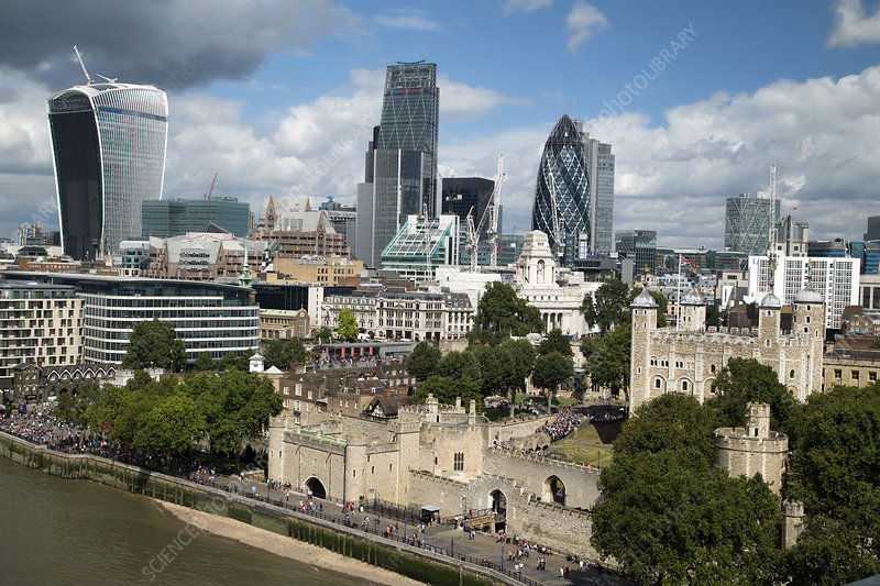 Tower of London and City skyscrapers