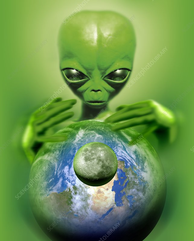 Alien observing Earth, conceptual image