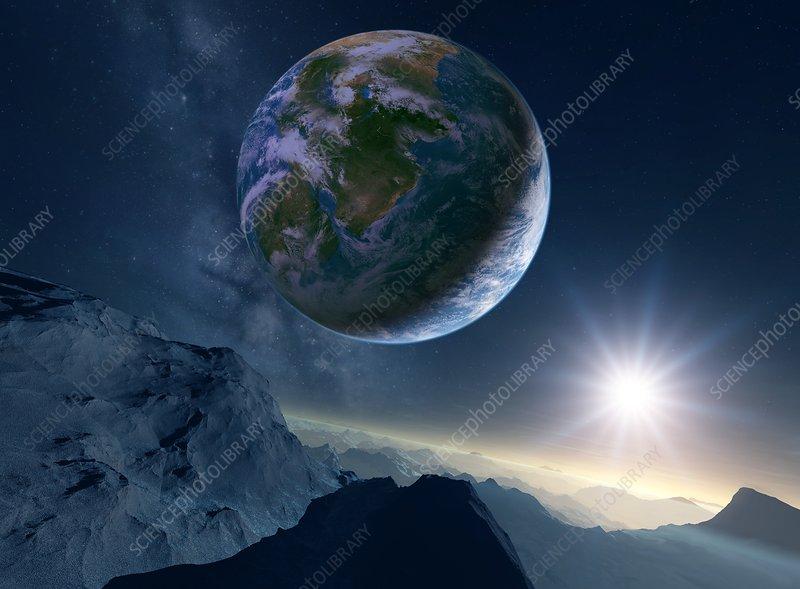 Earth-like alien planet, illustration - Stock Image C024 ...