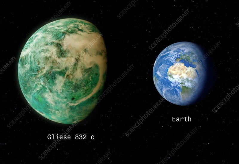Gliese 832 and Earth, composite image