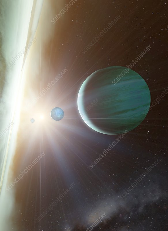 Alien planetary system, illustration