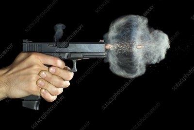 Glock pistol shot, high-speed photograph