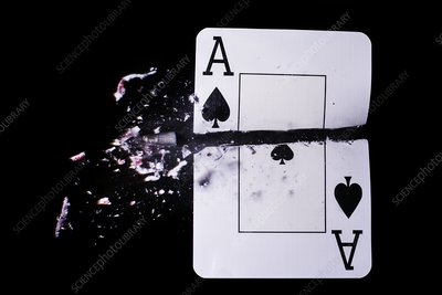 Playing card trick shot, high-speed photo