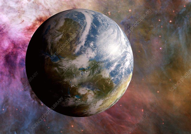 Earth-like alien planet, illustration